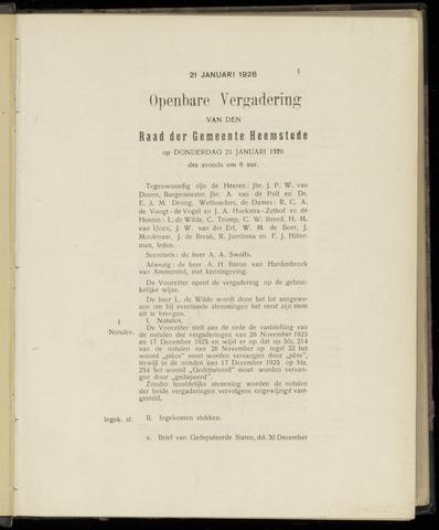 Raadsnotulen Heemstede 1926-01-08