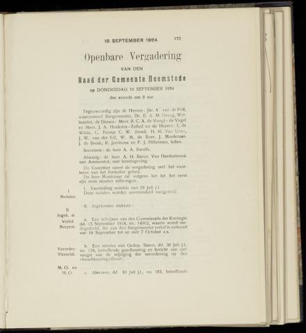 Raadsnotulen Heemstede 1924-09-18