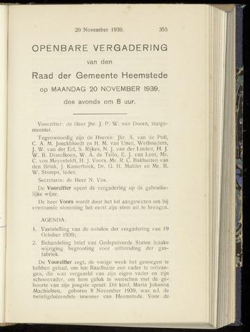 Raadsnotulen Heemstede 1939-11-20