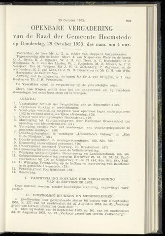 Raadsnotulen Heemstede 1953-10-29