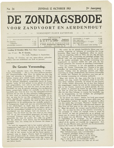 De Zondagsbode voor Zandvoort en Aerdenhout 1913-10-12