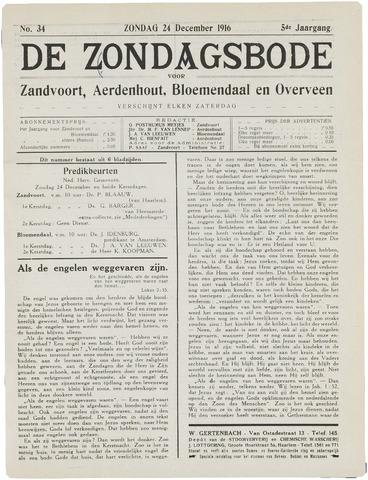 De Zondagsbode voor Zandvoort en Aerdenhout 1916-12-24