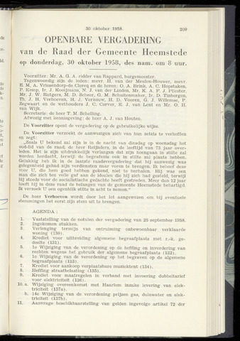 Raadsnotulen Heemstede 1958-10-30