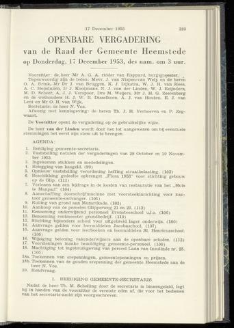 Raadsnotulen Heemstede 1953-12-17