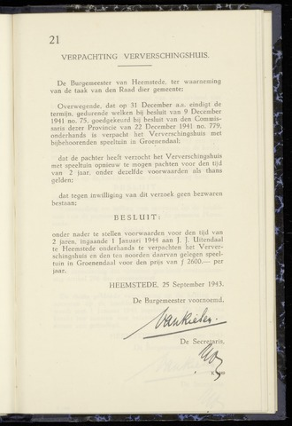 Raadsnotulen Heemstede 1943-09-25