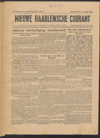 Nieuwe Haarlemsche Courant 1945-05-30