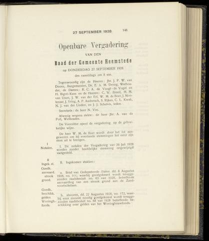 Raadsnotulen Heemstede 1928-09-27