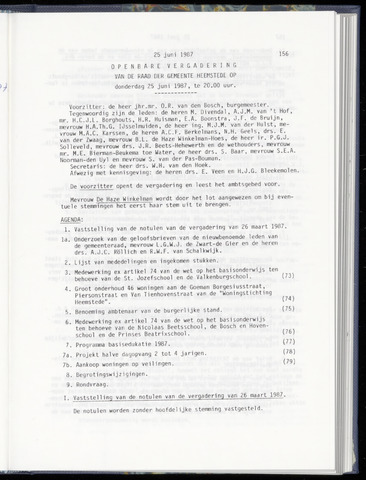Raadsnotulen Heemstede 1987-06-25