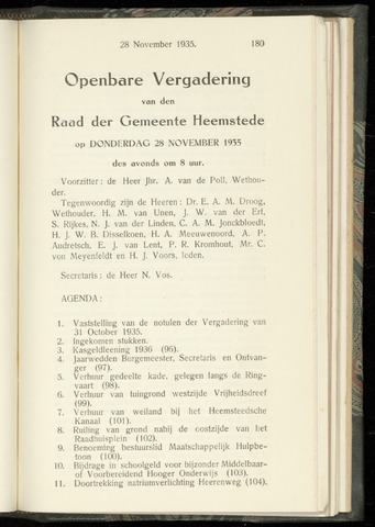 Raadsnotulen Heemstede 1935-11-28