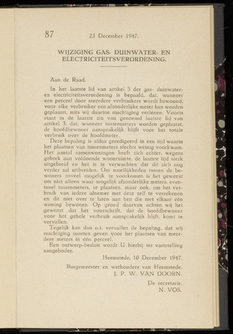 Raadsnotulen Heemstede 1947-12-23