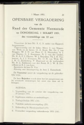 Raadsnotulen Heemstede 1951-03-01