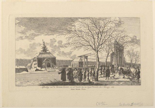 Afbeelding van de verzakte Muiderpoort vanaf de Plantage gezien, op 1 februari 1769.