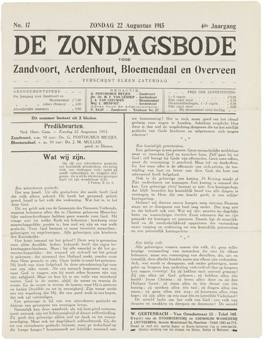 De Zondagsbode voor Zandvoort en Aerdenhout 1915-08-22
