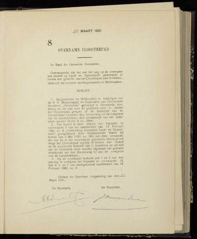 Raadsnotulen Heemstede 1921-03-22