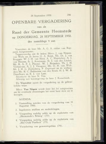 Raadsnotulen Heemstede 1950-09-28