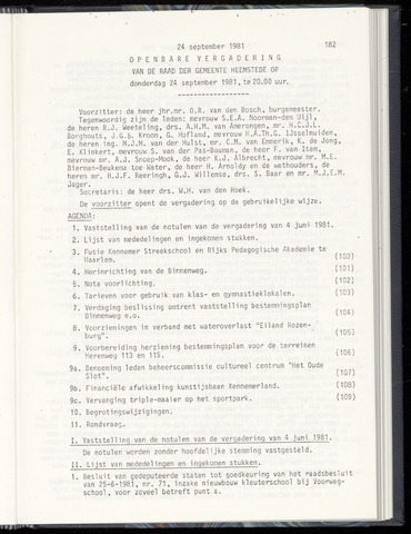 Raadsnotulen Heemstede 1981-09-24