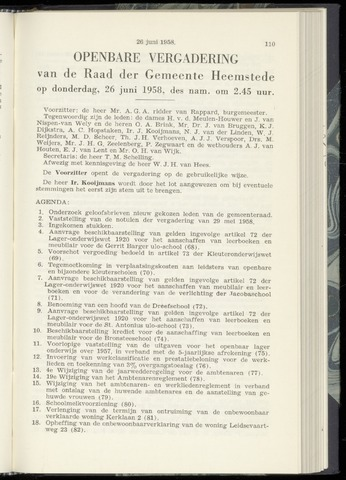 Raadsnotulen Heemstede 1958-06-26