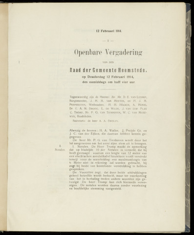 Raadsnotulen Heemstede 1914-02-12