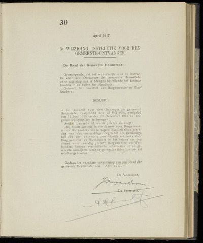Raadsnotulen Heemstede 1917-04-27