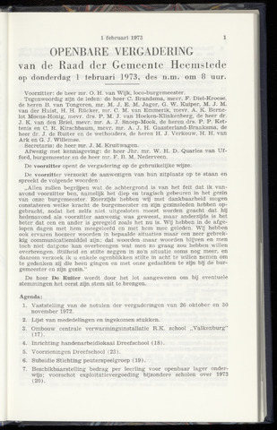 Raadsnotulen Heemstede 1973-02-01