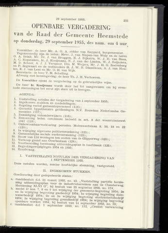 Raadsnotulen Heemstede 1955-09-29
