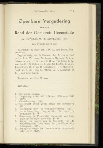 Raadsnotulen Heemstede 1934-11-29