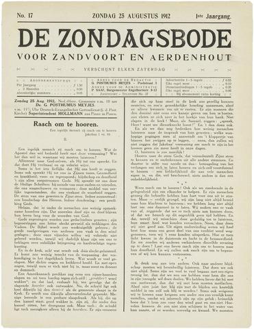 De Zondagsbode voor Zandvoort en Aerdenhout 1912-08-25