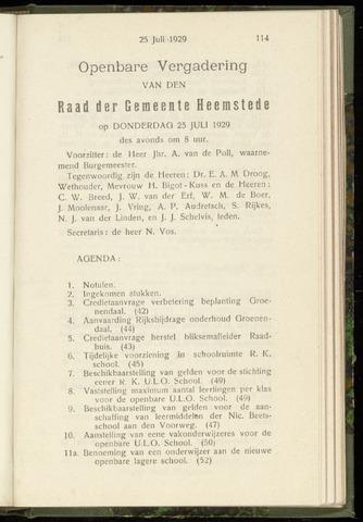 Raadsnotulen Heemstede 1929-07-25