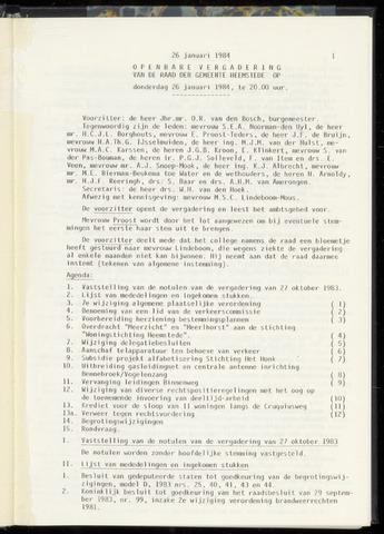 Raadsnotulen Heemstede 1984-01-26