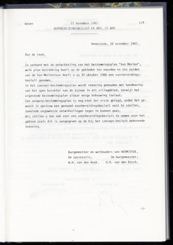 Raadsnotulen Heemstede 1987-11-27