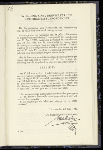 Raadsnotulen Heemstede 1943-06-22