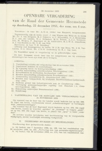 Raadsnotulen Heemstede 1957-12-22