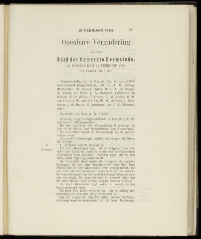 Raadsnotulen Heemstede 1924-02-21