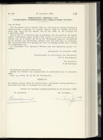 Raadsnotulen Heemstede 1958-11-27