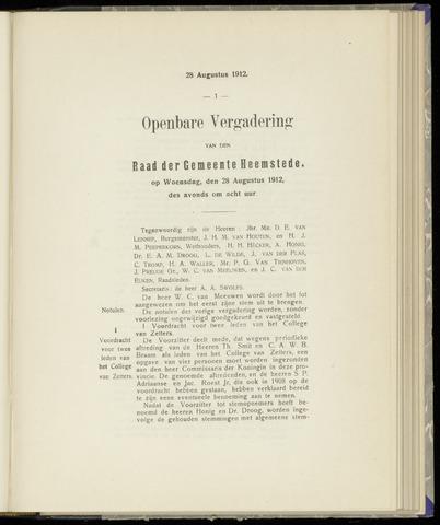 Raadsnotulen Heemstede 1912-08-28