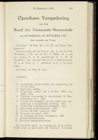Raadsnotulen Heemstede 1933-09-28