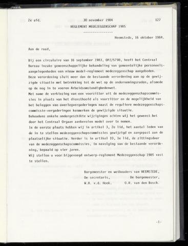 Raadsnotulen Heemstede 1984-11-30