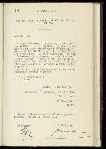 Raadsnotulen Heemstede 1933-10-26