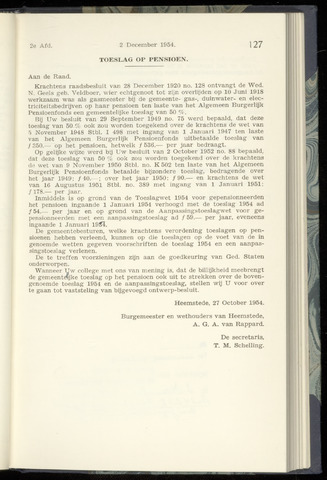 Raadsnotulen Heemstede 1954-12-02