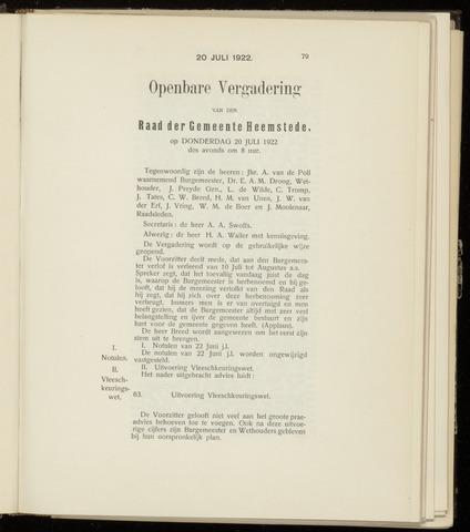 Raadsnotulen Heemstede 1922-07-20