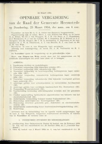 Raadsnotulen Heemstede 1954-03-25