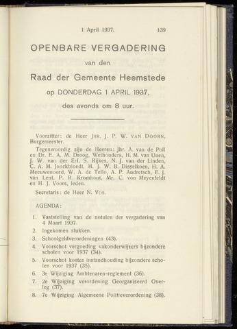 Raadsnotulen Heemstede 1937-04-01