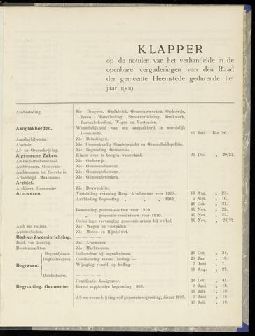 Raadsnotulen Heemstede 1909