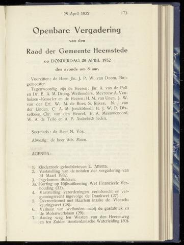 Raadsnotulen Heemstede 1932-04-28