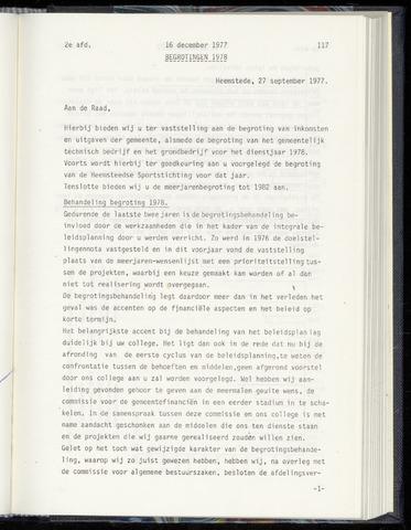 Raadsnotulen Heemstede 1977-12-16