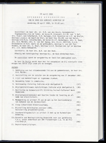 Raadsnotulen Heemstede 1988-04-28