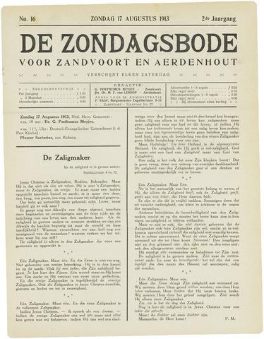 De Zondagsbode voor Zandvoort en Aerdenhout 1913-08-17