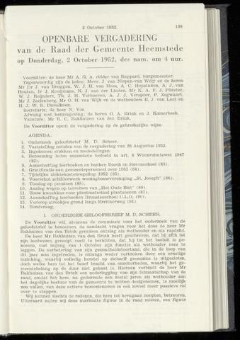 Raadsnotulen Heemstede 1952-10-02