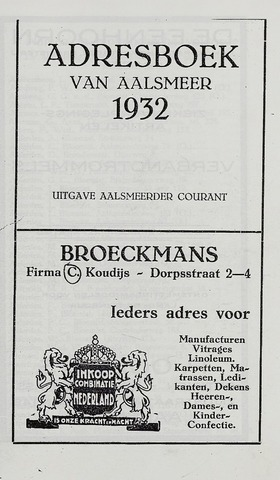 Adresboeken Aalsmeer 1932