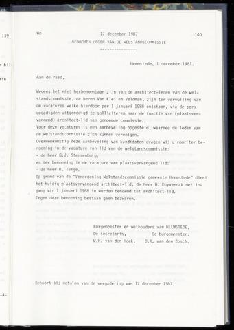 Raadsnotulen Heemstede 1987-12-17
